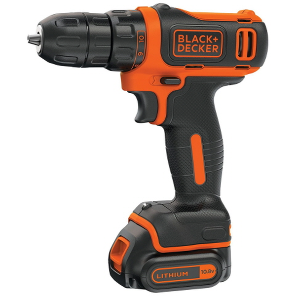 Дрель-шуруповёрт BLACK+DECKER BDCD12-QW, 10.8 В, 1.5 А·ч, 550 об.мин, АКБ, ЗУ